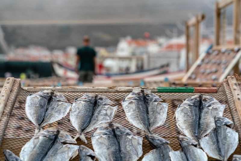 Fish drying in Nazare.
