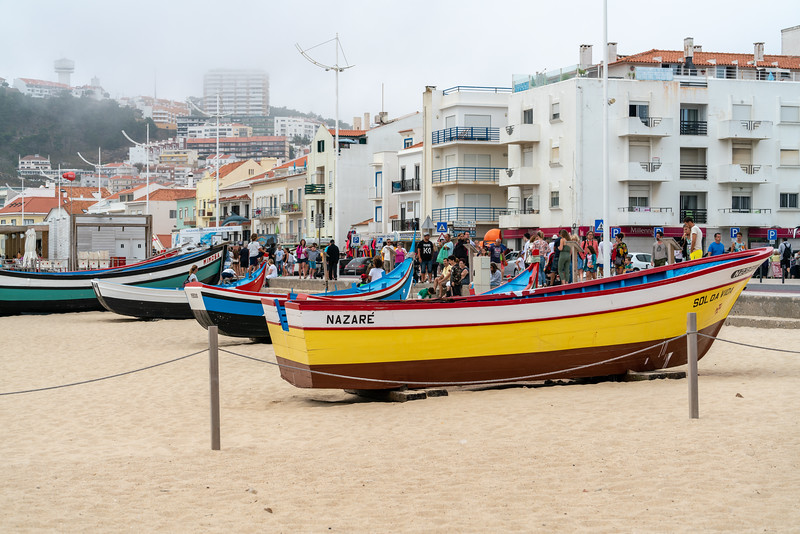 Traditional Nazare fishingboats.  These are just for decoration, the fishing fleet no longer launches from the beach, but from the harbor.
