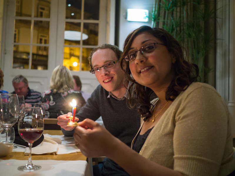 Dan and Becca with candles