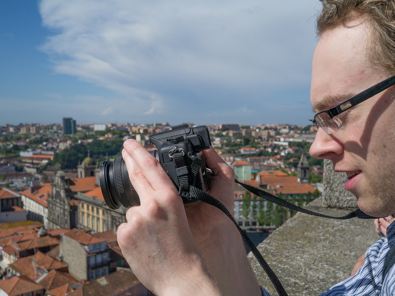 Dan taking a photo from the Torre de los Clérigos
