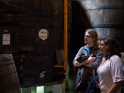 Olly and Becca with the port barrels