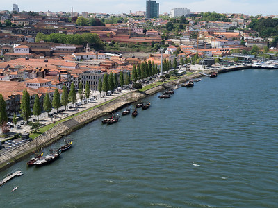 Barges on the Douro Rive from Dom Luís Bridge