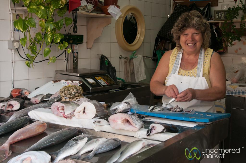 Fish Vendor at Mercado Bolhão - Porto, Portugal
