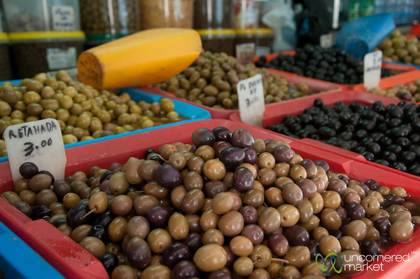 Olives at Mercado Bolhão in Porto, Portugal