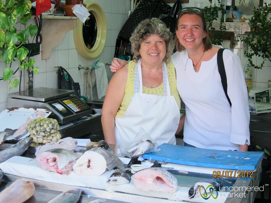 Fish Vendor and Audrey at Mercado Bolhão - Porto, Portugal