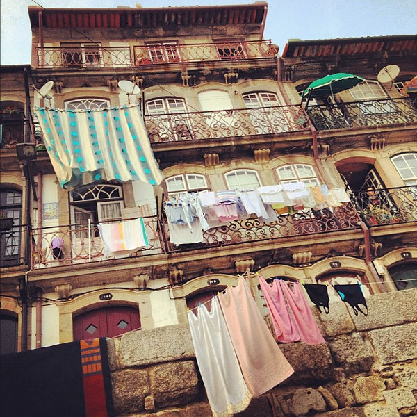 Mediterranean morning, laundry landscape in Porto, #Portugal #flashback