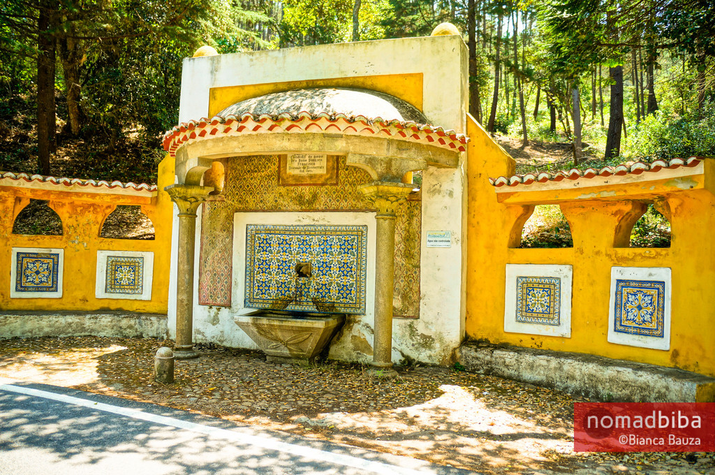 Yellow fountain in Sintra, Portugal