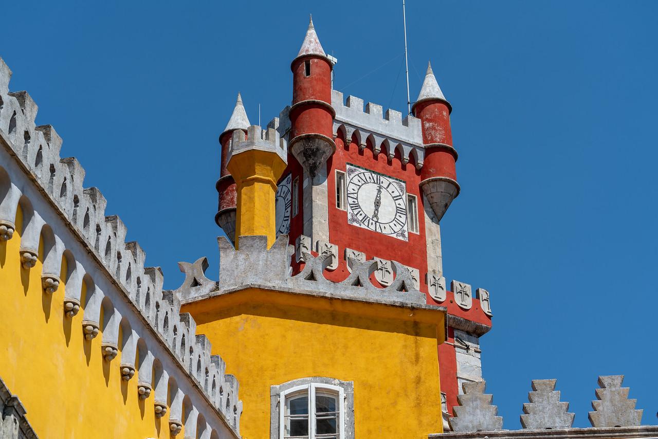 Clock tower and blue sky, Pena Palace.