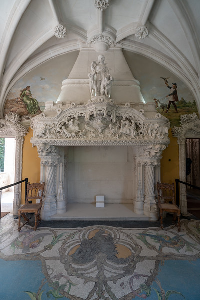 An elaborate fireplace in the palace.