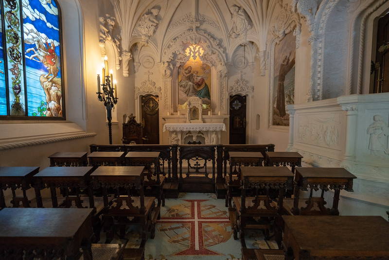 Inside the The Regaleira Chapel.