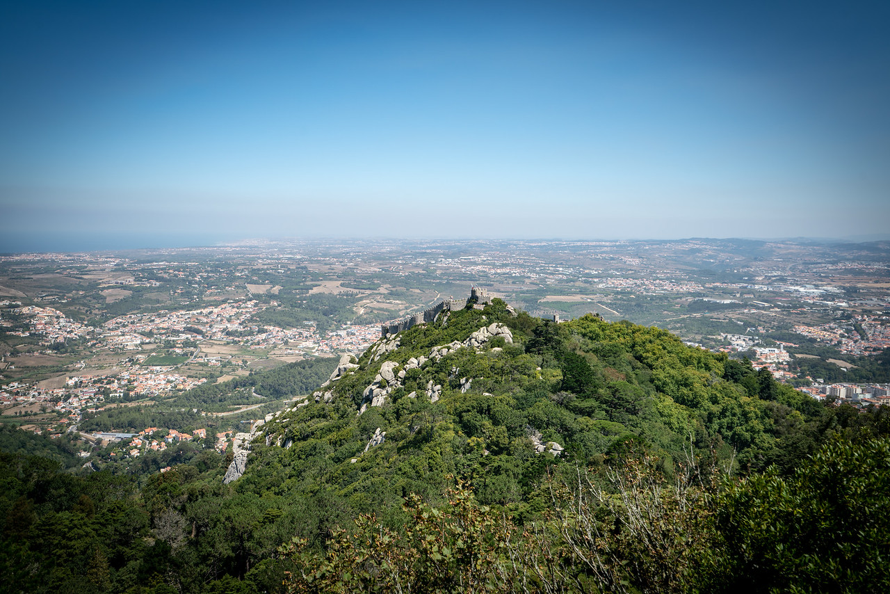 Looking down at the Moorish Castle from Pena Palace.