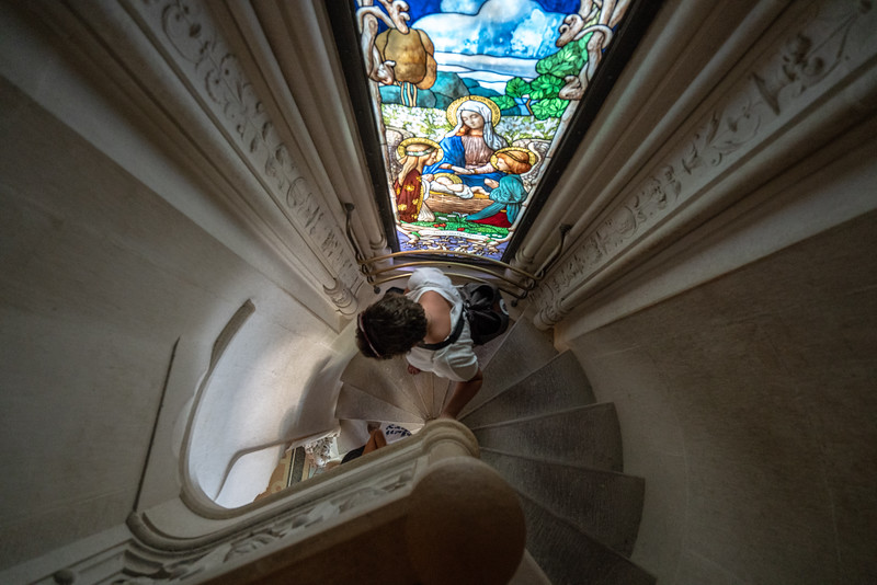 The crazy-tight stairs to the upper level of the Regaleira Chapel.