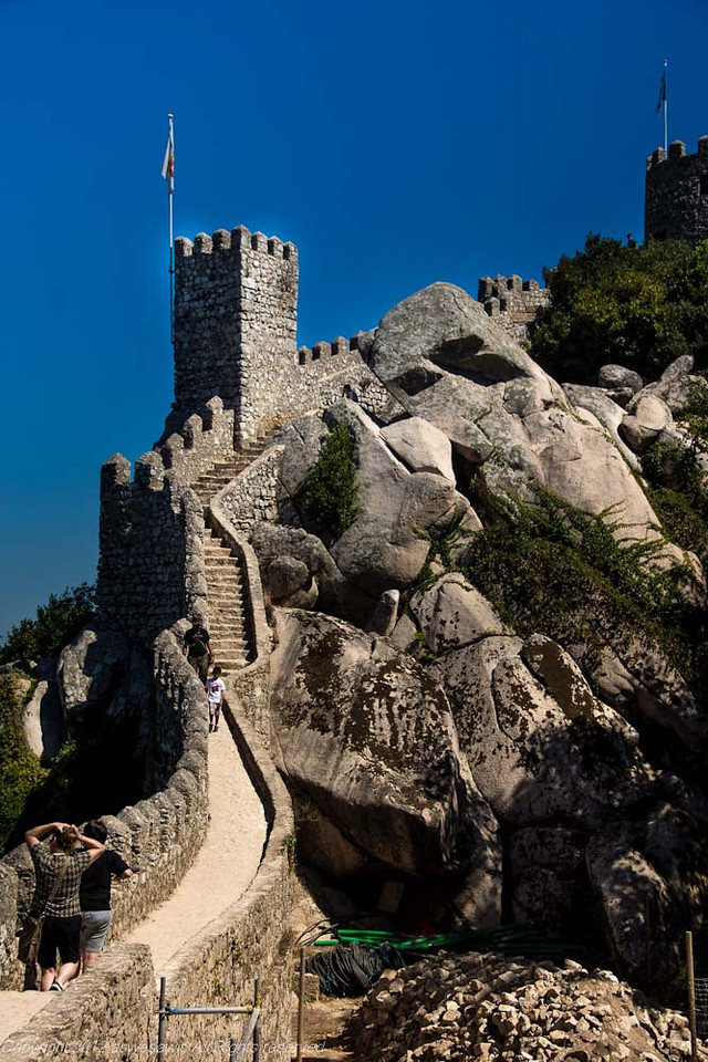 Moorish Castle wall in Sintra, Portugal