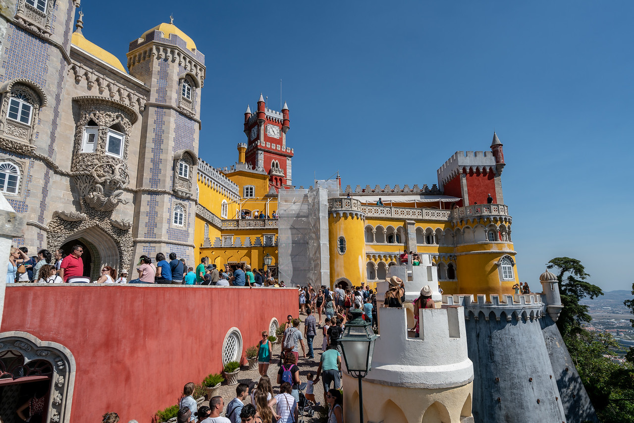 Pena Palace was built by German born Prince Ferdinand between 1840-1885. It is a crazy mish mash of styles with Gothic towers, Renaissance domes, Moorish minarets and Manueline carvings.