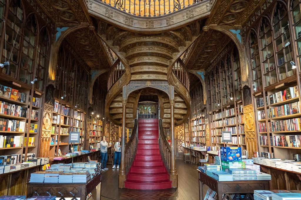 Inside Livraria Lello bookshop in Porto
