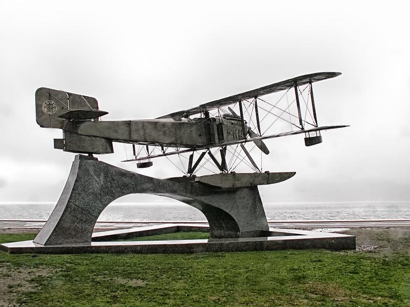 Statue of Gago Coutinho Sacadura Cabral Plane - Belem, Lisbon