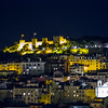 nighttime view of Castelo Sao Jorge from the Santa Justa Lift
