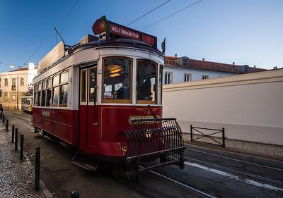 red streetcar Lisbon