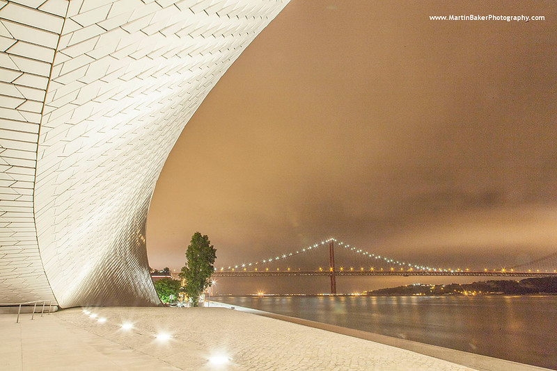 Museum of Art, Architecture and Technology (MAAT) and Ponte 25 de Abril, Lisbon, Portugal.