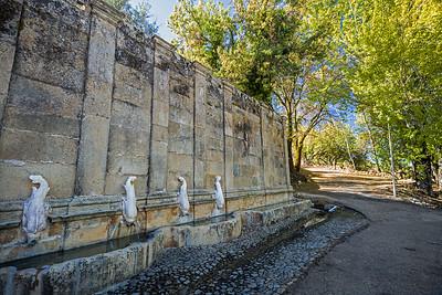 four fish fountain outside of Castelo de Vide