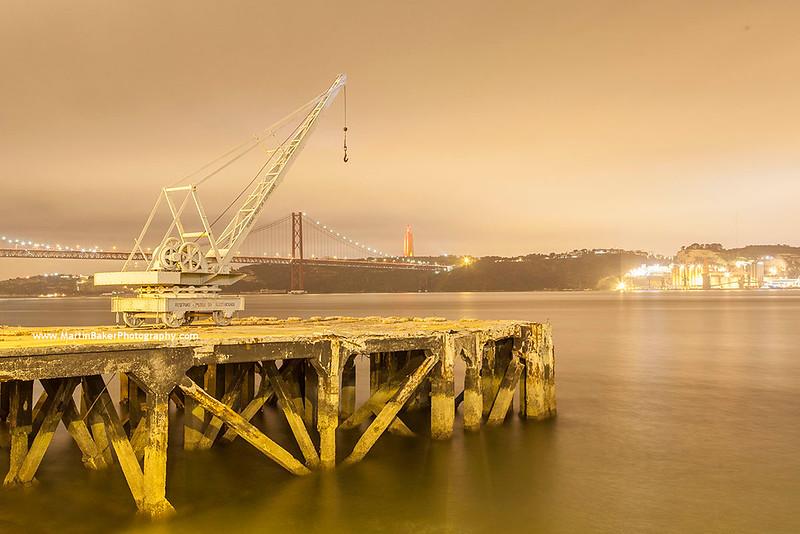 Ponte 25 de Abril, river Tejo and Cristo Rei (Cacilhas), Lisbon, Portugal.