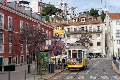 Tram in Alfama, Lisbon