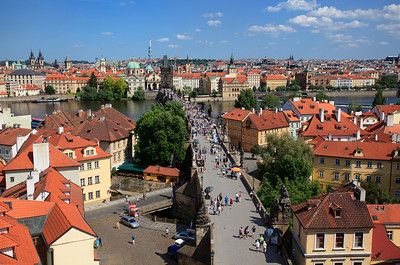 View towards Old Town Square from top of west tower, Charles Bridge
