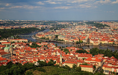 Mala Strana, Charles Bridge, and Old Town as seen from the Eiffel Tower at Petrin Hill
