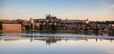 Charles Bridge and Prague Castle after sunrise