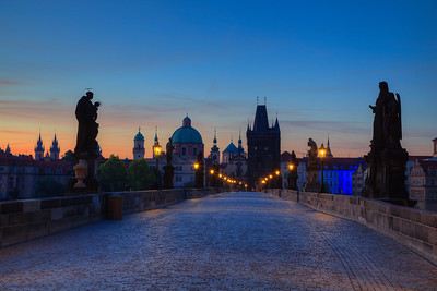 Charles Bridge towards Old Town Square direction, at the crack of dawn