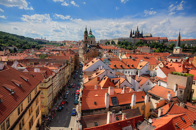 View towards Mala Strana from top of west tower, Charles Bridge