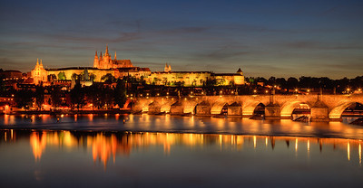 Prague's famous Charles Bridge, on the first night after our arrival