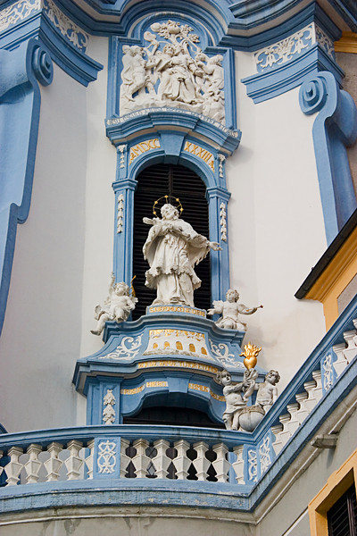 <center>Statues   <br><br>Durnstein, Austria   <br><br>The statues on the outer walls of the church were impressive.    </center>
