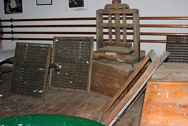 <center>Screens and Press   <br><br>Gross Pertholz, Austria   <br><br>These screens are used to make the paper from the wet pulp. The press squeezes the water out of it.    </center>