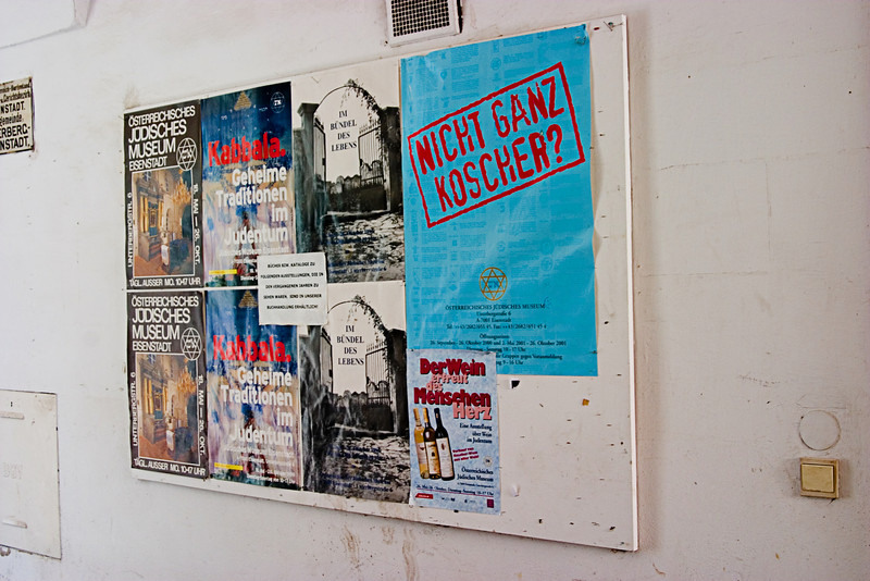 <center>Jewish Museum Posters   <br><br>Eisenstadt, Austria   <br><br>The posters on this board are advertising the Jewish history museum.    </center>