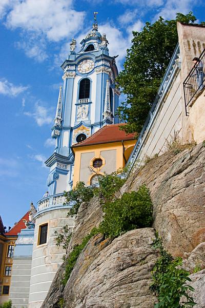 <center>Church Tower   <br><br>Durnstein, Austria   <br><br>The blue tower of the church in Durnstein dominated the landscape.    </center>