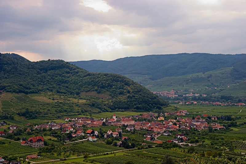 <center>Valley View   <br><br>Durnstein, Austria   <br><br>This is a nice view of a small village in the valley below the castle.    </center>