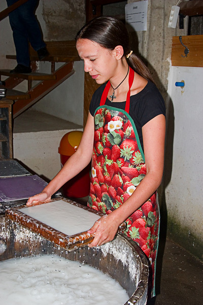 <center>Paper to Be   <br><br>Gross Pertholz, Austria   <br><br>Katharina raises the screen full of pulp.    </center>