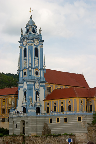 <center>Church in Durnstein   <br><br>Danube River, Austria   <br><br>The best view we had of this church in Durnstein was from the river.    </center>