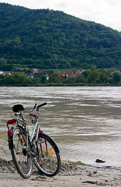 <center>Danube   <br><br>Durnstein, Austria   <br><br>There were countless people biking their way through this section of Austria. Someone apparently took a break here along the banks of the Danube River.    </center>