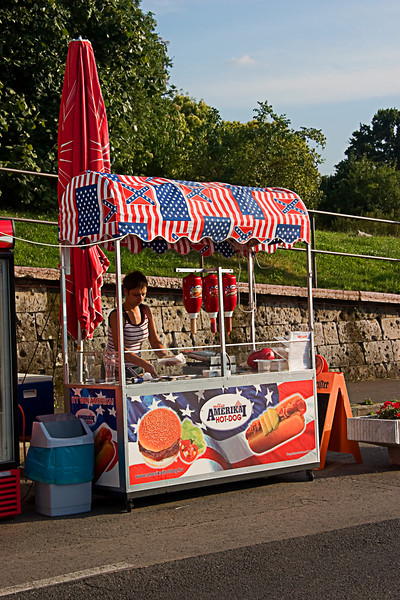 <center>Hot Dog Stand   <br><br>Budapest, Hungary   <br><br>This hot dog stand looks like it would be more at home in New York City.    </center>