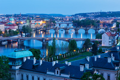 Evening view of Prague bridges over Vltava river