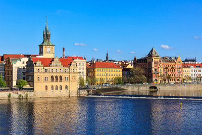 Prague Stare Mesto embankment view from Charles bridge