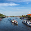 Tourist boats on Vltava river in Prague