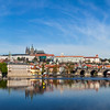 Panoramic view of Charles Bridge (Karluv most) and Prague Castle (Pražský hrad)