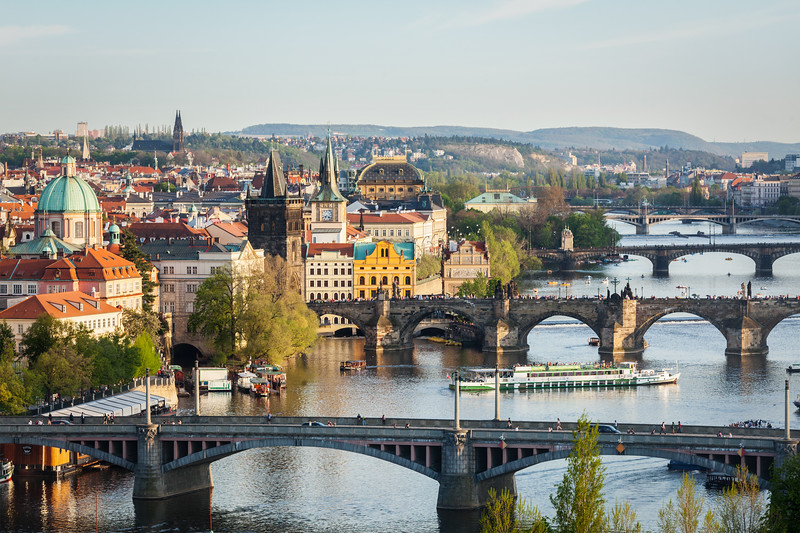 Panoramic view of Prague bridges over Vltava river from Letná Park
