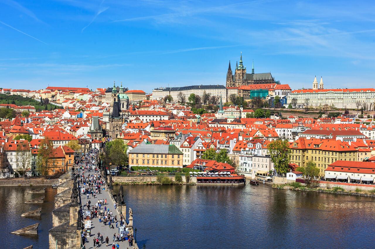 View of Mala Strana,  Charles bridge and Prague castle from Old Town bridge tower (Staroměstská Mostecká Věž) over Vltava river, Prague