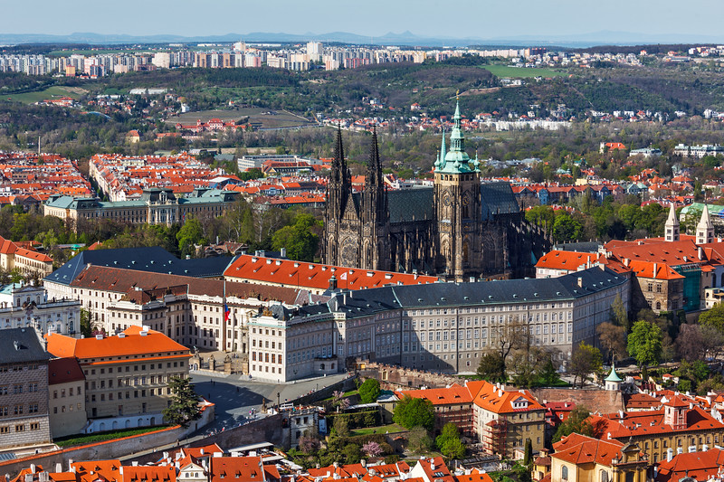 Aerial view of Hradchany: the Saint Vitus (St. Vitt's) Cathedral and Prague Castle