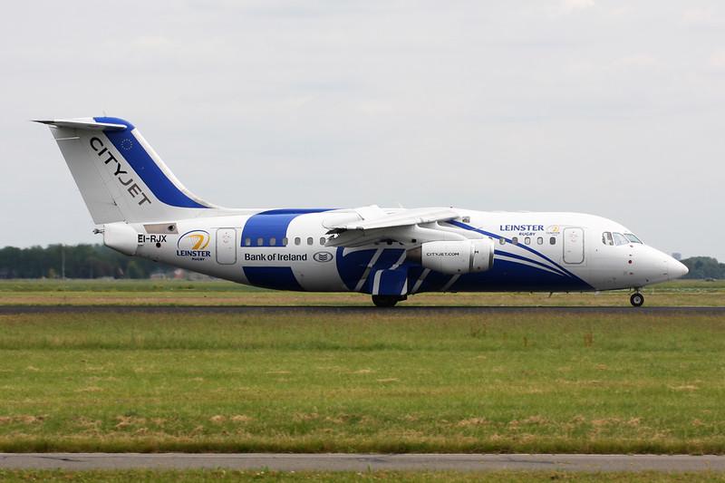 "EI-RJX Avro RJ-85 ""Cityjet"" c/n E2372 Amsterdam/EHAM/AMS 21-06-14 ""Leinster & Bank of Ireland"" titles"
