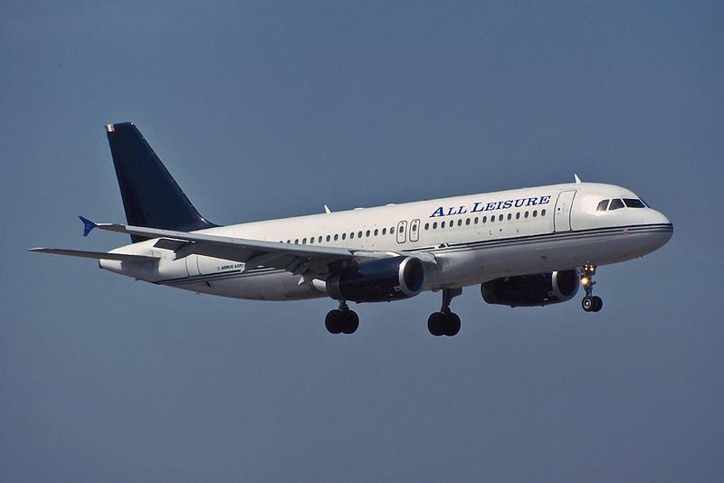 """EI-TLG Airbus A320-231 """"Transaer"""" c/n 0428 Manchester/EGCC/MAN 06-07-95 """"All Leisure titles"""" (35mm slide)"""